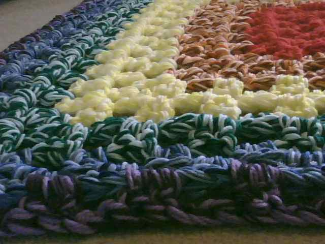 Crochet Granny Square Rug Patterns : crochet:: rainbow granny rug yarnchick40