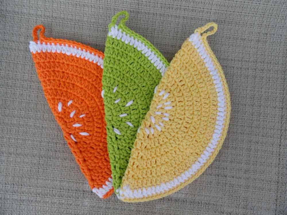 crochet:: watermelon & citrus potholders (6/6)