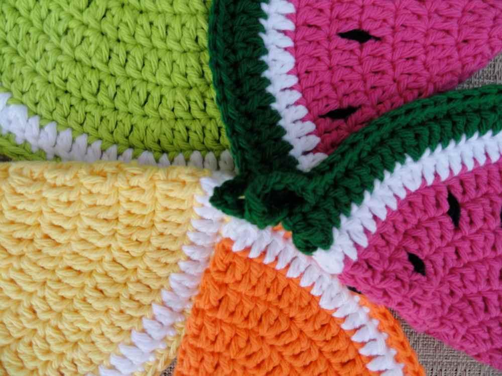 crochet:: watermelon & citrus potholders (5/6)