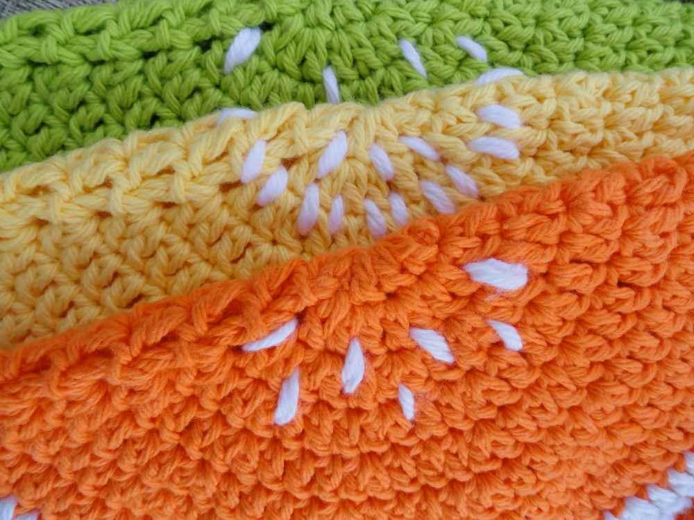 crochet:: watermelon & citrus potholders (3/6)