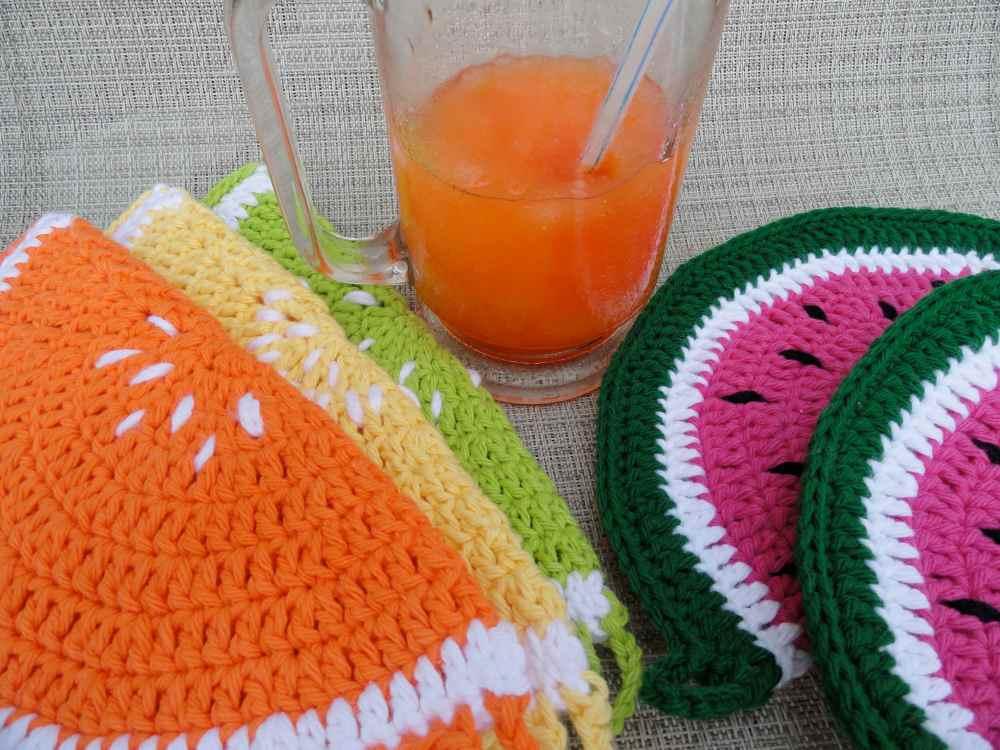 crochet:: watermelon & citrus potholders (4/6)
