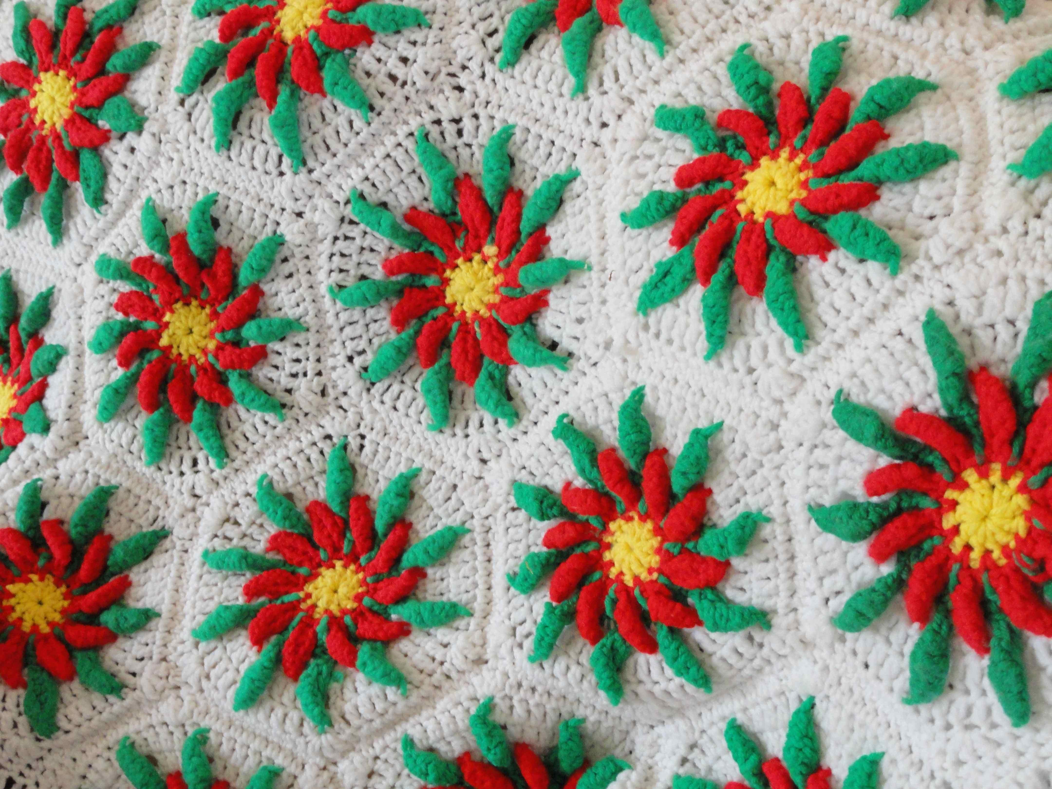 Crochet Poinsettia Afghan Yarnchick